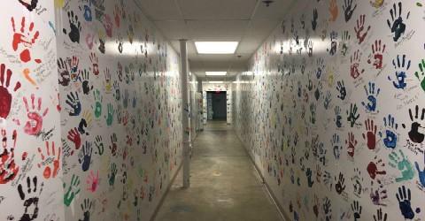 Disney Handprints in the Hallway